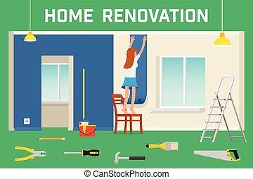 rendbehozás, mód, szoba, szoba, lakás, house., vektor, belső, home., helyreállítás, illustration.