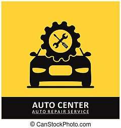 rendbehozás, service., autó, centre., sárga, autó., háttér, ikon, eszközök, bekapcsol