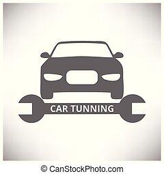 rendbehozás, service., autó, centre., szürke, autó., háttér, eszközök