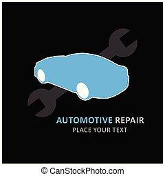rendbehozás, service., autó, centre., wrench., black háttér, autó