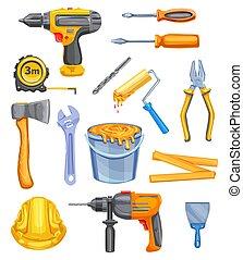 rendbehozás, szerszám, vízfestmény, felszerelés, tervezés, ikon