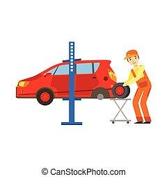 rendbehozás, szolgáltatás, autógumi, autó, garázs, műhely, ábra, szerelő, átalakuló, mosolygós