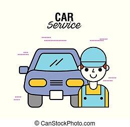 rendbehozás, szolgáltatás, autószerelő, technikus, ember
