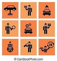 rendbehozás, szolgáltatás, ikonok, autószerelő, autó