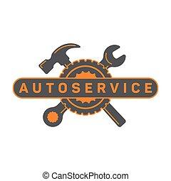 rendbehozás, szolgáltatás, jel, autó, aláír, ficam, kalapács, gördít, flat.