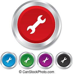 rendbehozás, szolgáltatás, szerszám, jelkép., aláír, icon.