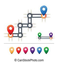 rendeltetési hely, és, térkép, ikonok