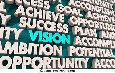 render, éxito, lograr, ilustración, plan, palabras, visión, 3d