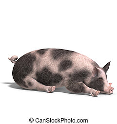 render, świnia
