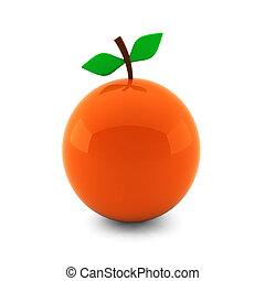 render, הפרד, תפוז, לבן, 3d, נחמד