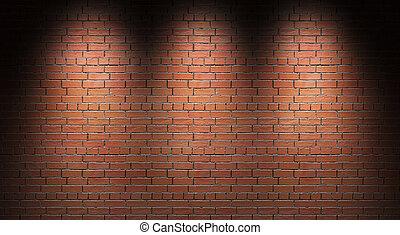 render., れんが, wall., 照らされた, 3d