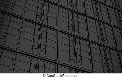 render, イメージ, 3d, 容器, シリーズ, 貨物