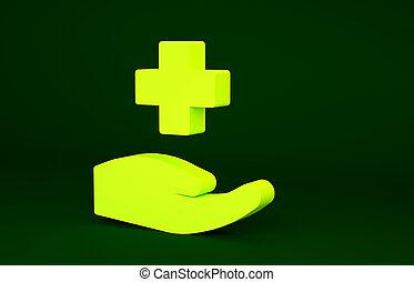 render, イラスト, 交差点, 印。, 薬局, aid., 隔離された, 黄色緑, アイコン, シンボル。, 医学, 薬, concept., minimalism, 3d, 病院, 診断, 最初に, バックグラウンド。