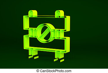 render, イラスト, 建設, 修理, シンボル, 隔離された, 黄色, works., processes., 緑, アイコン, 区域, 下に, concept., minimalism, 3d, 障壁, 限られた, 道, バックグラウンド。