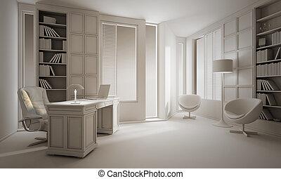 render, オフィス, デザイン, 贅沢, 粘土, 内部, 3d