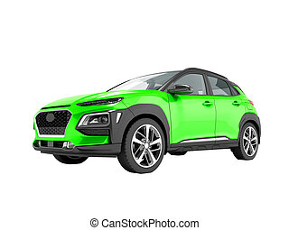 render, クロスオーバー, 自動車, 緑, 3d, 白, いいえ, 現代, 影, 背景, 前部
