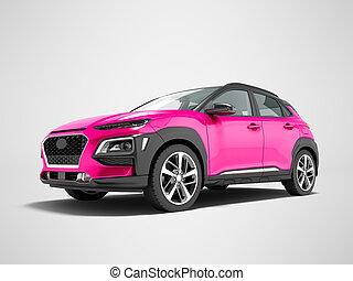 render, クロスオーバー, 自動車, 3d, 灰色, 現代, 影, 背景, ピンク, 前部
