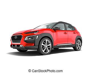 render, クロスオーバー, 自動車, 3d, 白い赤, 現代, 影, 背景, 前部