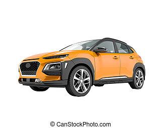 render, クロスオーバー, 自動車, 3d, 白, いいえ, オレンジ, 現代, 影, 背景, 前部