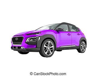 render, クロスオーバー, 自動車, 3d, 白, いいえ, 現代, 紫色の背景, 影, 前部