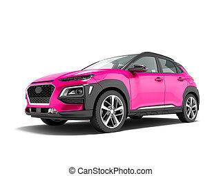 render, クロスオーバー, 自動車, 3d, 白, 現代, 影, 背景, ピンク, 前部