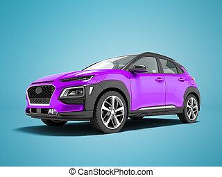render, クロスオーバー, 自動車, 3d, 青, 現代, 紫色の背景, 影, 前部