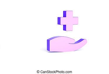 render, シンボル。, 白, 印。, 診断, aid., minimalism, バックグラウンド。, 薬, 病院, 最初に, アイコン, 隔離された, 薬局, イラスト, 3d, concept., 交差点, 紫色, 医学