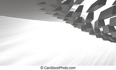 render, トンネル, チューブ, 現代, light., イラスト, ラウンド, ボリューム, 形, 建築, 背景, 抽象的, 未来派, 3d