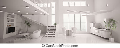 render, 全景, 現代, 內部, 白色, 3d