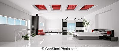 render, 全景, 現代, 寢室, 內部, 3d