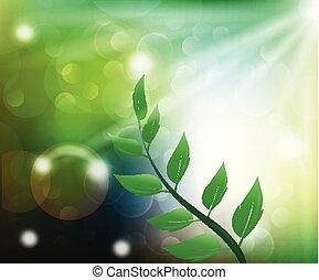 render, 葉, 春, 成長する, 背景, 旗