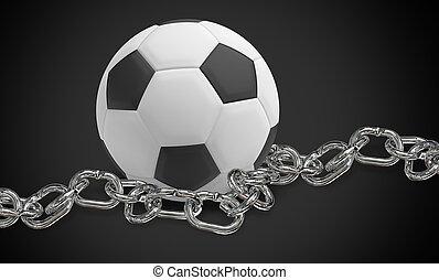render, 鎖でつながれた, フットボール, イラスト, 黒い背景, デザイン, 3d