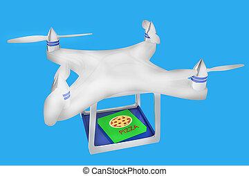 render, 3d, illustration, bourdon, porter, pizza, italien