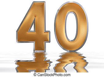 render, 40, 白, 反映された, 隔離された, 3d, 数字, 表面, 40, 水