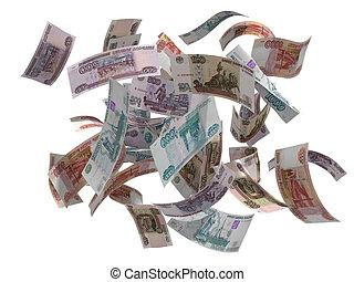 render, aislado, rubles, blanco, ruso, caer, 3d