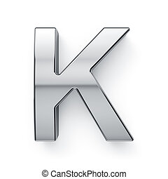 render, alfabeto, k, -, metalic, carta, simbol, 3d