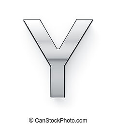 render, alfabeto, -, metalic, carta, simbol, 3d