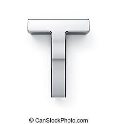 render, alphabet, -, metalic, t, lettre, simbol, 3d