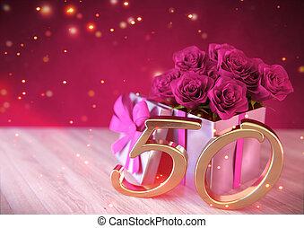 render, anniversaire, rose, bois, 50th., cadeau, concept, cinquantième, roses, birthday., 3d, desk.