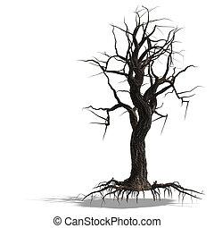 render, arbre, mort, sans, pousse feuilles, 3d