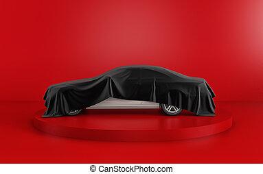 render, auto decke, hintergrund., schwarz, unter, neu , weißes, versteckt, rotes , 3d
