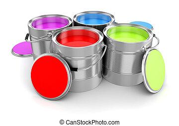 render, barwny, wiadro, malować, tło, biały, 3d