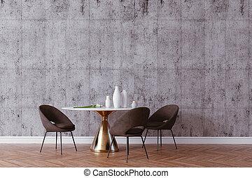 render, beau, intérieur, 3d, table, chaises