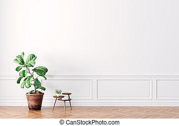 render, beau, intérieur, 3d, table, plante