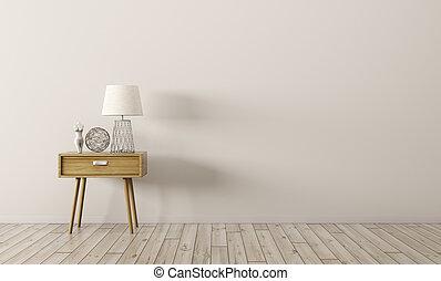 render, bois, intérieur, table, côté, 3d