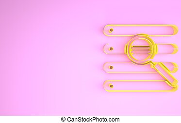 render, browser, illustrazione, concept., isolato, icona, minimalismo, finestra, giallo, ricerca, fondo., rosa, 3d