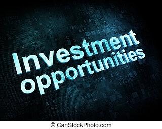 render, business, occasions, écran, pixelated, mots, numérique, investissement, concept:, 3d