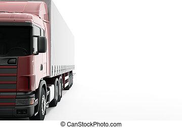 render, cg, commercial, isolé, livraison, arrière-plan., camion, nouveau, blanc, 3d