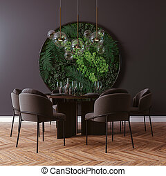 render, chaise, beau, intérieur, 3d, table