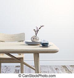 render, chaises, bois, propre, intérieur, table, 3d